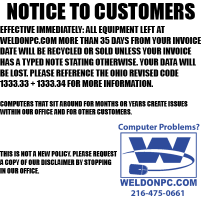 NOTICE TO CUSTOMERS